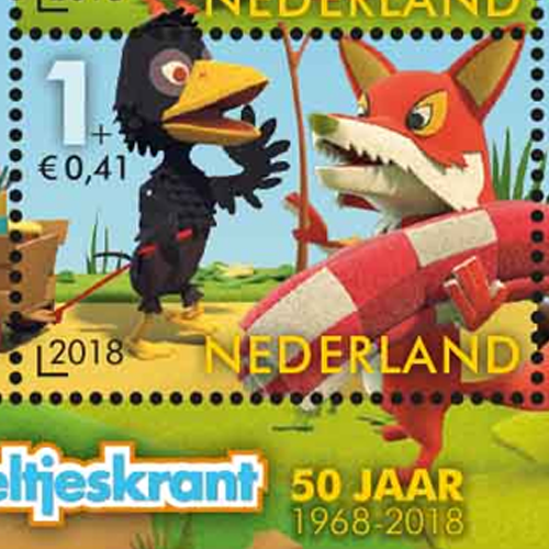 Meneer de Raaf en Lowieke de Vos op de Kinderpostzegels