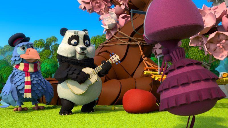 Peter Panda zingt samen met Juffrouw Mier een liedje uit de Fabeltjeskrant