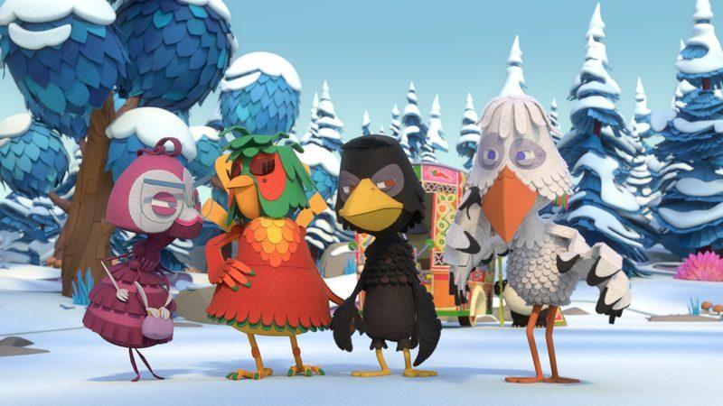 Juffrouw Mier, Isadora Paradijsvogel, Meneer de Raaf en Juffrouw Ooievaar staan in de sneeuw
